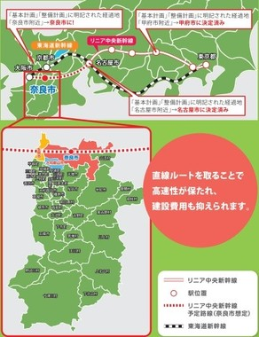 上図の黄が生駒市、青が大和郡山市、赤が奈良市(奈良市「リニアで変えよう!奈良の未来」より)