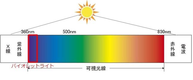 波長360~400nmの可視光であるバイオレットライト
