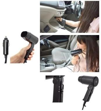 急に髪が濡れても車の中で乾かせて便利!