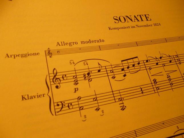 アルペジョーネ・ソナタ 第1楽章冒頭の楽譜、ソロ楽器のところに「Arpeggione」と確かに書いてある