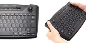 トラックボール&マウスボタン搭載 両手で握って使えるワイヤレスキーボード