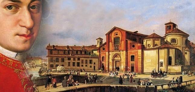 モーツアルトの肖像と当時のイタリアの風景