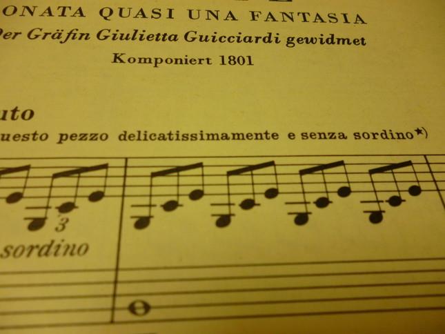 アダージオ・ソステヌート(ゆっくりとしっかりした音で)の下に見える「すべてをとてもデリケートにそして、senza sordinoで演奏するように」と書いてある