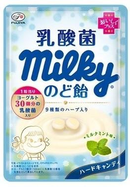 乳酸菌をプラスしたやさしいミルクミント味のミルキーのど飴