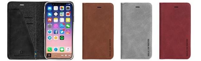 シックで落ち着いた色合いのケースがiPhone Xを優しく包む