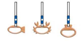 つり革の取っ手は、魚やカニ、貝の形をしている