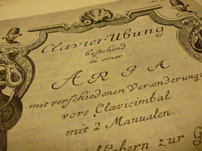 クラヴィア練習曲として出版された初版の楽譜。どこにも「ゴルトベルク」や「カイザーリンク伯」の名前はない