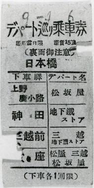 戦前の「デパート巡り乗車券」