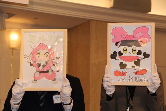 (左から)「こつこつ忍者 ミルク丸」、「みるきゅん」