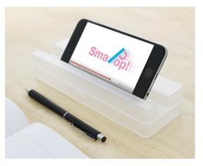 フタにスマホを立てかけられるペンケース「SmaPop」 勉強のおともや自分撮りにも