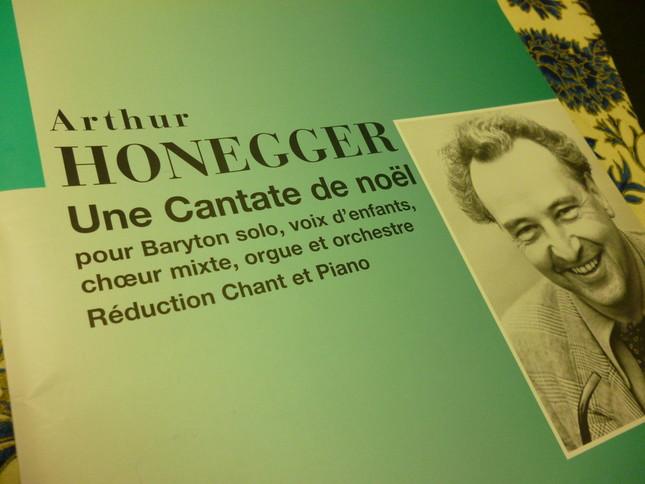オネゲルの肖像写真が載るクリスマス・カンタータの楽譜