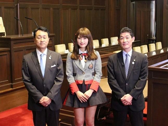 第1回に出演する大橋一功議長、奴井和幸副議長とNMB48渋谷凪咲さん