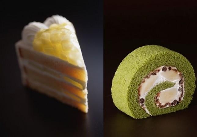 「スーパーメロンショートケーキ」(左)と「新edo抹茶ロール」(右)