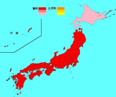 国立感染症研究所発表のインフルエンザ流行マップ。北海道以外すべてが、「警報レベル」で最も高い色だ