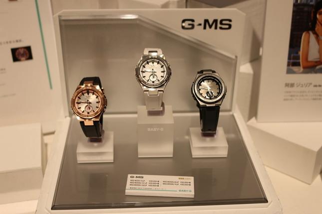 「BABY-G G-MS」のコンパクトなメタルデザインの「MSG-W200」(18年6月発売)。ピンク、ホワイト、ブラックといった女性らしい色合い