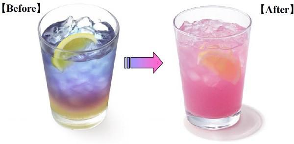 レモン果汁の力でピンクに