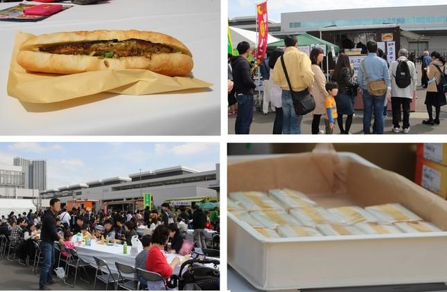 飲食ブースには多くの人だかりがあった。中でも「さばサンド」(左上)と「玉子サンド」(右下)が人気だった