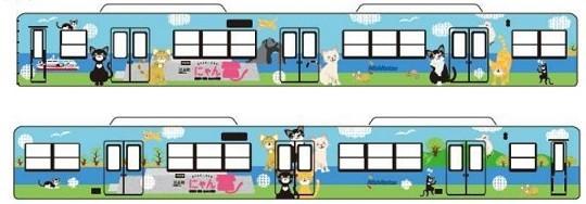 人気の「ねこのしま」の猫をモチーフにしたラッピング電車