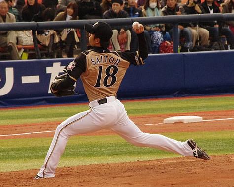 エースナンバーを背負っていた時の斎藤選手(WikimeddiaCommonsより、colorfulsea撮影)