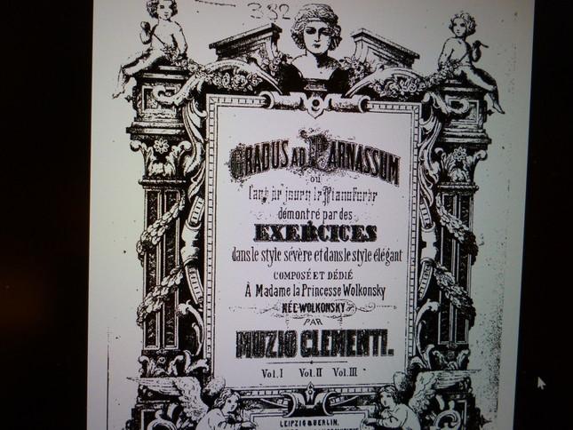 大げさな『グラドゥス・アド・パルナッスム』の楽譜の表紙。題名とともに権威的であり、ドビュッシーに皮肉られた