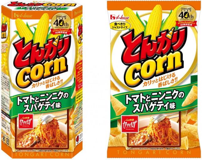 「とんがりコーン トマトとニンニクのスパゲティ味」のパッケージ