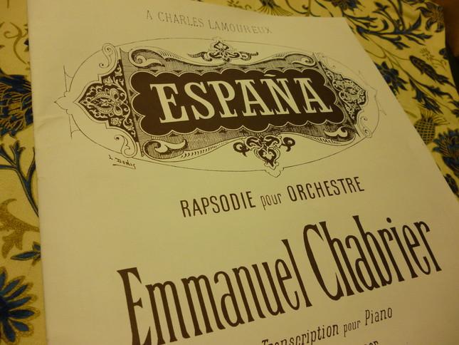 狂詩曲スペインのピアノ連弾用楽譜。管弦楽版の大ヒットを受け、アンドレ・メサジェによって編曲された