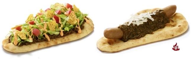 待望の人気商品2種が復活! 「ナンタコス」(左)と「ナンカレードッグ」
