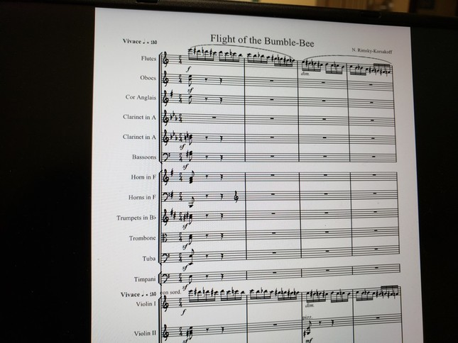 オーケストラの総譜。熊蜂が飛ぶような音はフルートとヴァイオリンでまず演奏される