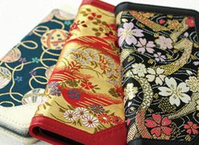西陣織金襴×牛革を使用  iPhone向け手帳型ケース