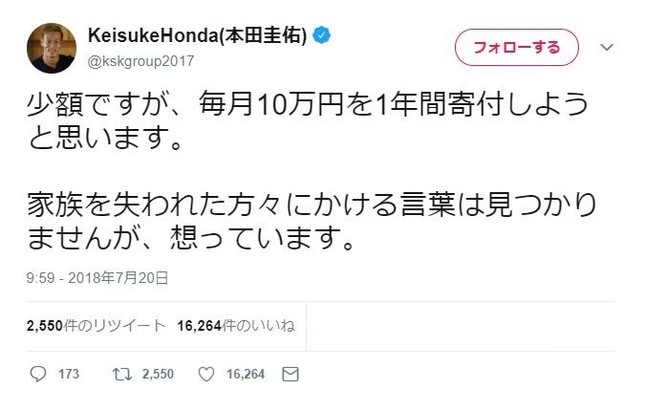 本田圭佑選手のツイッター