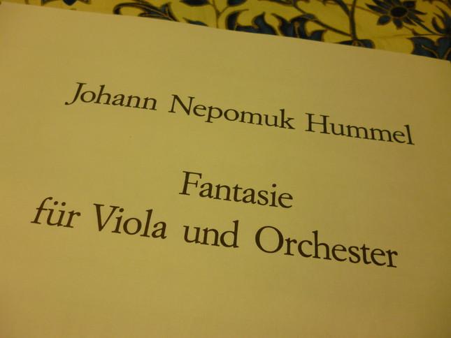 フンメルの『幻想曲』の楽譜(伴奏を管弦楽からピアノにした編曲版)。楽譜にはただ、幻想曲とだけ書いてある
