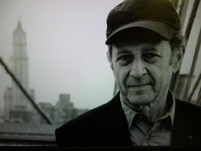 米国的風景を背景にした、S.ライヒの肖像