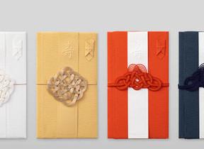 伝統色の祝儀袋「結婚祝 祝色」 さりげない縁起柄の「のし袋」
