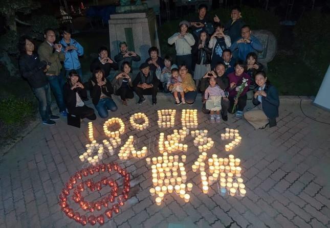 西日本豪雨から100日目の日、岡山県真備町で行われたキャンドルイベント(写真提供:フェイスブックジャパン)