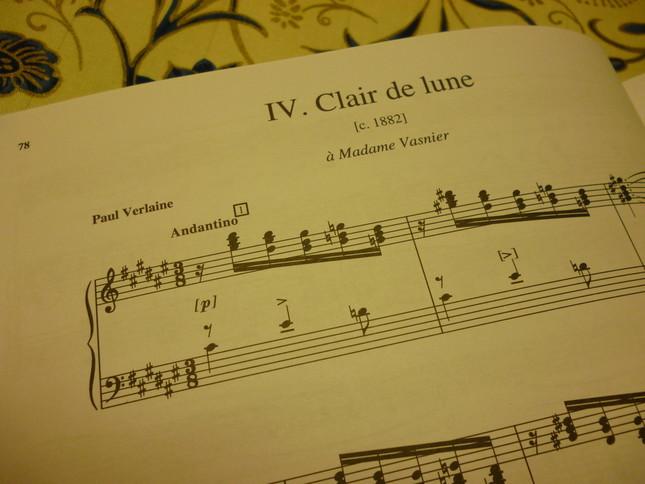1番最初の歌曲『月の光』の楽譜。そこには後の『月の光』のような憂いに満ちた表現は少ない