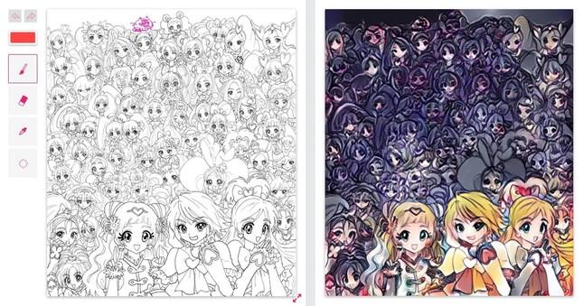 J-CASTトレンド記者が自動着色サイトを使用した結果(左が中川翔子さん作のイラスト、右は自動着色後イメージ)