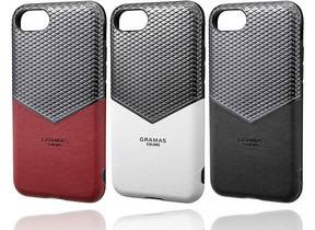 ブラッククロムと本革の組み合わせ V字デザインのiPhoneケース