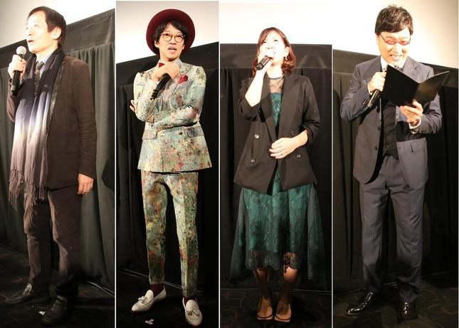 左から奥山和由監督、松村厚久社長、江角早由里プロデューサー、山里亮太さん