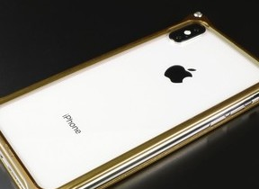 iPhone XS/X向け、ゴールドカラーのバンパーケース