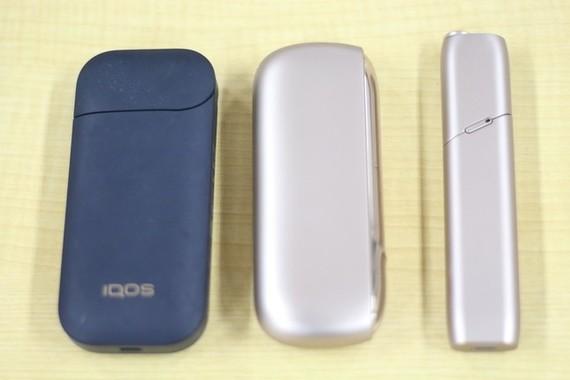 (左から)「IQOS 2.4PlLUSus」「IQOS 3」「IQOS 3 MULTI」