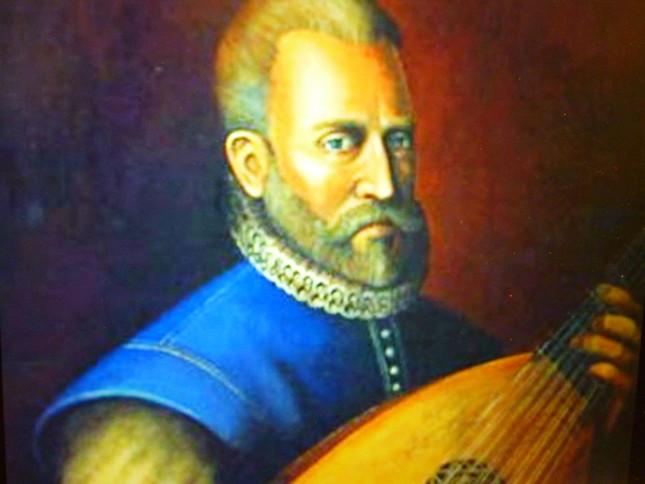 リュートを持ち、作曲をしているダウランドの肖像画