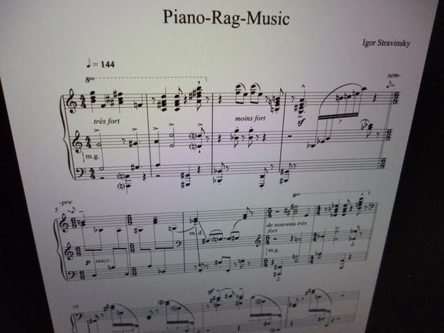 ストラヴィンスキーらしい斬新な「ピアノ・ラグ・ミュージック」の譜面