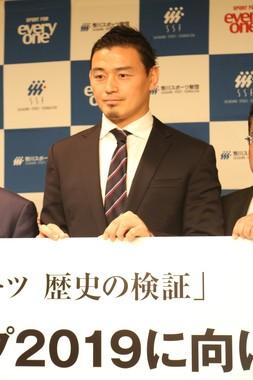 NHK「鶴瓶の家族に乾杯!」に出演した五郎丸選手(2019年2月26日撮影)