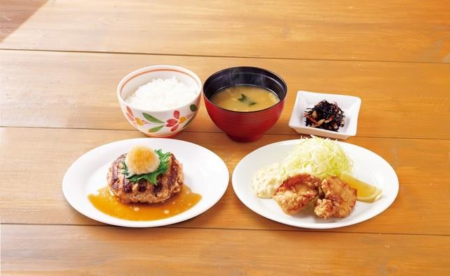 おろしハンバーグと鶏の唐揚げ膳(選べる小鉢つき)