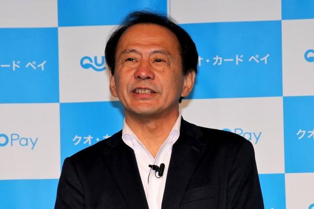 発表会冒頭で挨拶に立った、クオカード・近田剛代表取締役社長