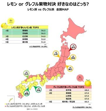 レモン派 VS グレフル派 全国MAP