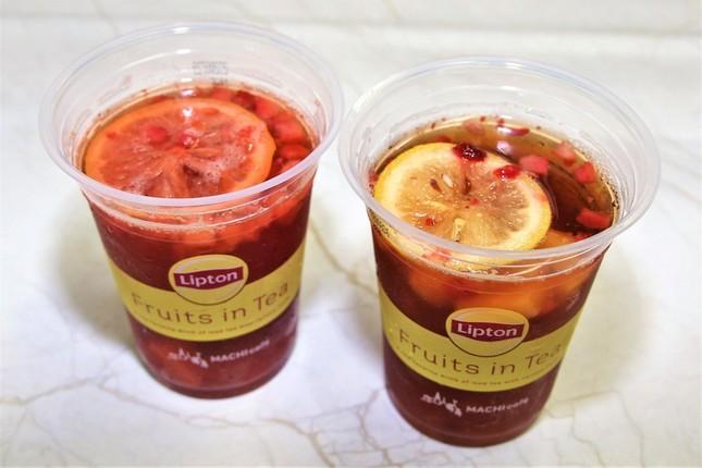 (左から)フルーツをつぶした「MACHI cafe Lipton フルーツインティー」、購入直後の「MACHI cafe Lipton フルーツインティー」