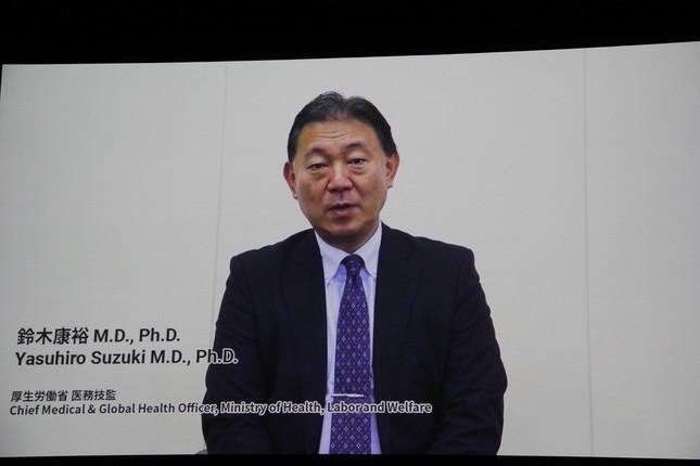 ビデオメッセージを寄せた厚生労働省医務技監・鈴木康裕氏