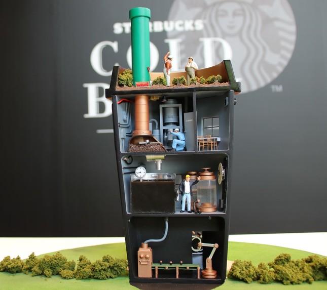「スターバックス・コールドブリュー コーヒー」の製造工程を表現したミニチュア模型
