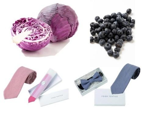紫キャベツ、ブルーベリーで染めたネクタイ、アクセサリー(オリジナル商品)